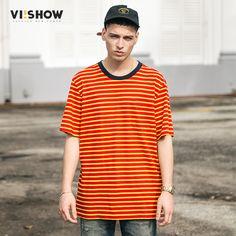 VIISHOW T-shirt Men Casual Short Sleeve T Shirts Men Striped T-shirts Fashion Cotton Tees Slim Fit Man Tops Tees TD1553172