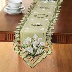 Collections Etc Elegant Embroidered Rose Table Linens, Purple, Runner Cutwork Embroidery, Embroidery Patterns, Felt Cushion, Collections Etc, Doll Hair, Decoration Table, Calla Lily, Home Decor Furniture, Shape Patterns