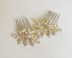 Gold Bridal hair comb - Two small vintage style crystal Hair combs Wedding hair accessory - Rhinestone Hair Comb - crystal hair clip