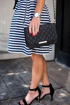 Honey We're Home: Wear to Work   Striped Skirt x 2 Black Cross Body bag Black Heel