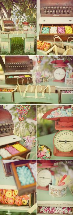 candy desk, complete with scale and register! I have that same scale...so doing this.