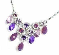 Regal Briolette Swarovski Elements Crystal Necklace for Women W 18k White Gold Plated Chain (Purple)