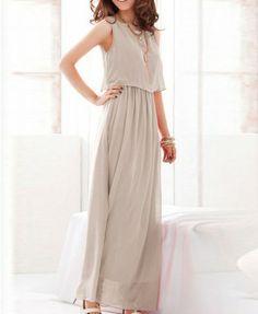 Sleeveless Maxi Dress with Elastic Waist.