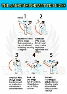 With these basic kicks you can win a fight easily. With more advanced kicks your opponent won't stand a chance.unless of course they know how to do them too. ( in karate we use Japanese so the words in brakets are not the same) Tae Kwon Do, Taekwondo Training, Martial Arts Training, Mma Boxing, Boxing Workout, Jiu Jitsu, Kung Fu, Corps Fitness, Art Of Fighting