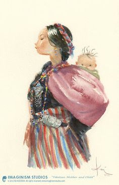 Title: Tibetan Mother and Child By: Kei Acedera Medium: Watercolor Happy Mother's Day everyone! Tibetan Mother and Child Art Gallery, Illustrators, Sketches, Character Design, Art Inspo, Drawings, Painting, Illustration Art, Art