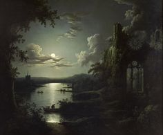 Moonlit Lake with a Gothic Church Ruin (1810-1844) - Sebastian Pether