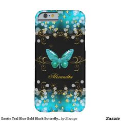 Shop Exotic Teal Blue Gold Black Butterfly Sparkles Case-Mate iPhone Case created by Zizzago. Iphone 6 Plus Case, Iphone 7 Cases, Purple Gold, Teal Blue, Black Sparkle, Ipad Case, 6 Case, Plastic Case, 6s Plus
