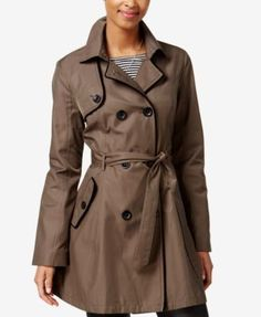 Betsey Johnson Skirted Corset-Back Raincoat | macys.com I love the style and details in this fashionable raincoat. Want them in BOTH available colors too. -rcc
