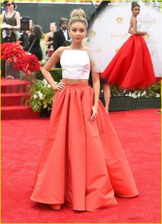 Sexy Sarah Hyland Two Piece Prom Dresses At Emmys 2014 Custom Made White and Red Celebrity Evening Gowns