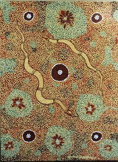 """""""In the Dreamtime the Rainbow Serpent ( snake ) is believed to have been the Creator of the land, water, the plants etc.  This painting depicts two ancestors of the Rainbow Serpent hunting for food. In the centre of the painting a water hole is shown, and around it four smaller ones can be seen ( the brown circles with white edging and centres )."""