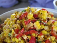 Grilled Corn Salad with Red Pepper and Herbs