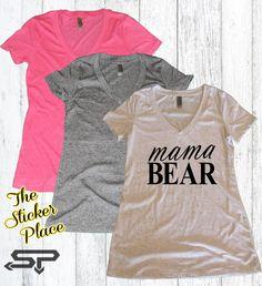 Mama Bear Shirt Women's V Neck Shirt Mama Bear by TheStickerPlace