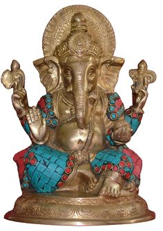 """$151 PR-3850-MB3118A 8.5 Inch Height Brass Statue of Shri Ganesha Ganesh, Indian Hand Crafted Religious God Ganesha Mosaic Statue, Brass with Turquoise and Coral Mosaic, Antique Look Brass Sculpture, Vintage Decorative with Gemstones on Brass, Valuable Collection, Rustic Finish Statue, Brass Sculpture Statue (Mosaic 6""""*6""""*8.5"""")"""