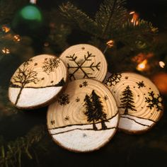 Wood Burned Log Slices - Christmas Tree Decoration by AliBongoArt on Etsy