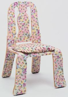 """Queen Anne Side Chair  Robert Venturi (American, born 1925) and Denise Scott Brown (American, born 1931)    1983. Maple plywood and plastic laminate, 38 1/2 x 26 5/8 x 23 3/4 x 18 5/8"""" (97.8 x 67.6 x 60.3 x 47.3 cm). Manufactured by Knoll International, Inc., New York, NY. Gift of the manufacturer. © 2013 Robert Venturi"""