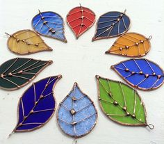 Stained Glass Sun Catcher 'Little Leaves in Blue'