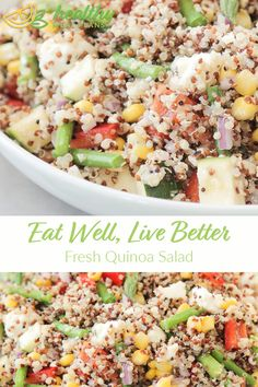 The ideal make-ahead lunch, this Fresh Quinoa Salad is loaded with fiber and protein and so satisfying that you'll forget it's good for you. Quinoa Salad, Pasta Salad, Gluten Free Recipes, Vegetarian Recipes, Squash Vegetable, Steamed Asparagus, Make Ahead Lunches, Pescatarian Recipes, Recipe Boards