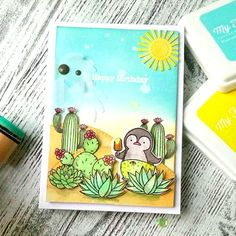 Laina  Lamb Design Sweet Succulents and Birdie Brown Penguins in Paradise stamp sets and Die-namics, Stitched Valley Die-namics - Yulianna Neginskaya #mftstamps