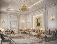 classic Majlis design, private villa ,Doha, Qatar on Behance Mansion Interior, Luxury Homes Interior, Luxury Home Decor, Interior Exterior, Bedroom False Ceiling Design, Classic Living Room, Classic Interior, Luxurious Bedrooms, Decor Interior Design