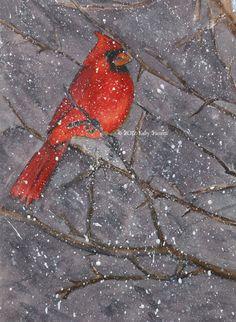 paintings of cardinal birds | Painting 206. Cardinal When the Snow First Flies
