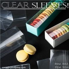 Clear Sleeves and colored bases for your Macarons from BRP Box Shop!