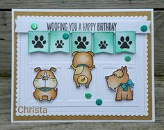 MFT Lucky Dogs; birthday; bulldog; kraft; aqua; birthday fave; banner