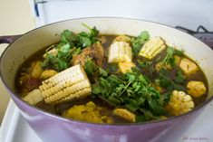 Dominican Sancocho Recipe is a hearty three meat stew filled with robust flavors of sazon, adobo and packed with hearty bites of yucca, plantain and corn. Dominican Sancocho Recipe, Spanish Food, Stew, Master Chef, Meat, Vegetables, Cooking, Recipes, Kitchen