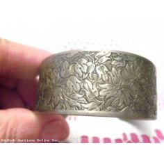 Vintage 70s Nickel Silver Wide  Bangle Bracelet Floral Flowers Design