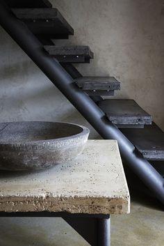 raw concrete + metal