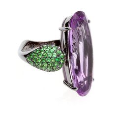 """A & FURST- """"Fleur de Lys"""" Collection- 18K White Gold & Black Rhodium ring with Amethyst and Green Tsavorites. $ 4,945."""