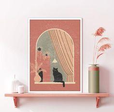 Orange Wall Art, Window View, Plant Art, Minimalist Art, Nursery Wall Art, Neutral Colors, Printable Art, Wall Art Prints, Mid-century Modern