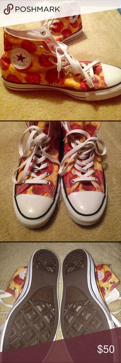 Converse Pizza Patterned High-Tops Worn maybe one time- look brand new. Converse brand! Size 9 men/ Size 11 women Converse Shoes Sneakers