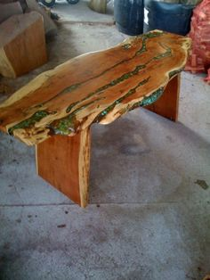 Coffee Table with Turquoise Inlay
