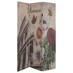 LINEN FABRIC SCREEN W 'ROMAN/NEW YORK' 120X2,5Χ180 (DOUBLE SIDE)