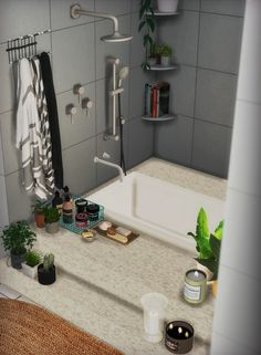"cherry-sims: ""sink / mirror / hamper / chair / pipe rack / makeup brush / shelf 1 , 2 / soap 1 , 2 , 3 , 4 / shower / tub / bathtub decor / wire basket / LUSH set / candle 1 , 2 , 3 / towel 1 , 2 , 3..."