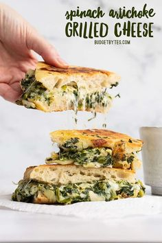 Spinach Artichoke Grilled Cheese is like your favorite restaurant appetizer turned into a meal. Rich, creamy, cheesy, and totally veggilicious! Budgetbytes.com Types Of Sandwiches, Wrap Sandwiches, Steak Sandwiches, Kitchen Recipes, Cooking Recipes, Cooking Ideas, Food Ideas, Vegetarian Recipes, Healthy Recipes