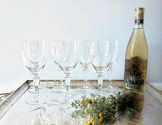 Vintage Leaf And Berry Pattern Wine Glasses  Mid by jarmfarm