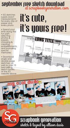 September's free sketch download by Scrapbook Generation!