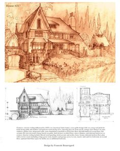Original design for an American Tudor style house. All design plans and model graphics by me. Fully designed, all plans drawn up, unique home . Building Plans, Building Design, Storybook Homes, Vintage House Plans, Sims House, Environment Design, Art And Architecture, Exterior Design, Concept Art