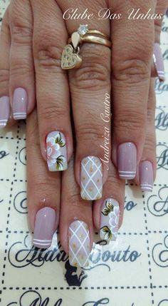 Mais de 74 Modelos de Unhas artísticas para inspiração 2017 French Manicure Nail Designs, Flower Nail Designs, Toe Nail Designs, Glam Nails, Beauty Nails, My Nails, Gorgeous Nails, Pretty Nails, Summer Toe Nails