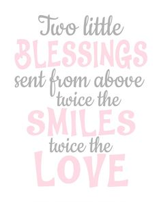 Twin Nursery Wall Art | Two Little Blessings | Grey and Pink | Canvas Available Twins Birthday Quotes, Birthday Wishes For Twins, Twin Nursery Gender Neutral, Nursery Twins, Elephant Nursery, Nursery Frames, Nursery Wall Art, Nursery Quotes, Nursery Ideas