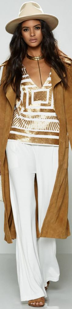 Mara Hoffman  ~ White + Gold Satin Embellished Top, White Trousers