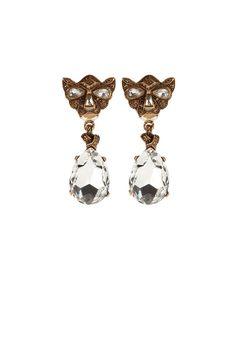 Oscar de la Renta Panther Earrings