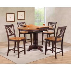 Iconic Furniture Company Whiskey/Mocha Double-X-back Counter-height Five-piece Dining Set (5-Piece Double X-Back Counter Set), Brown