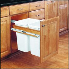 View the Rev-A-Shelf 4WCTM-18DM2 4WCTM Series Double 35 Quart Top Mount Wood Pull Out Waste Container with Full-Extension Slides at PullsDirect.com.