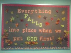 The bulletin board created for church Catholic Bulletin Boards, November Bulletin Boards, Thanksgiving Bulletin Boards, Christian Bulletin Boards, Preschool Bulletin Boards, Classroom Bulletin Boards, Bullentin Boards, Classroom Door, Bulletin Board Ideas For Church