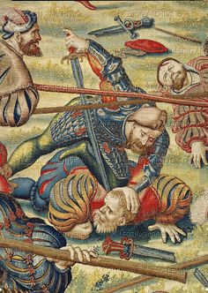 Orley,Bernaert (1492-1542) Seven large tapestries illustrate the Battle of Pavia in 1525,in which Emperor Charles V.defeated French King Francois I. A close combat between mercenaries.