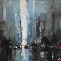 """""""City in Blue"""" by Bryan Mark Taylor Oil ~ 12"""" x 12"""""""