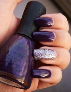 26 new year's eve brilliant nail art designs purple wedding nails, purple gel nails, Dark Purple Nails, Purple Nail Art, Dark Nails, Purple Sparkle, Sparkle Nails, Ongles Gel Violet, Nail Art Violet, Nail Art Designs, Purple Nail Designs