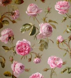 French Floral Wallpaper | Antique french floral wallpaper with pink roses on a pale green ...